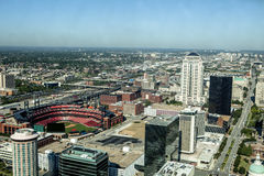 Downtown St. Louis. A view from of the city of St. Louis Missouri from sky Stock Image
