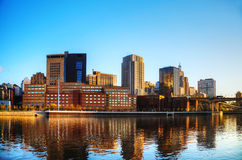 Downtown of St. Paul, MN. And Mississippi river Stock Images