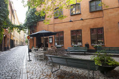 Downtown Stockholm. Idyllic Corner in the old town (Gamla Stan) of Stockholm , Sweden royalty free stock photo