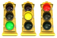 Downtown Stoplight 3 Pack Stock Images