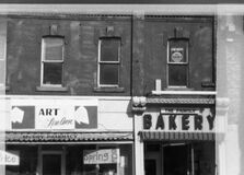 Downtown storefront, Belleville circa 1970 stock photo