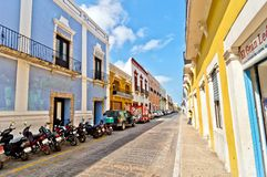 Downtown street in Campeche, Mexico Stock Photography