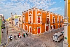 Downtown street in Campeche, Mexico Stock Photos