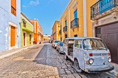 Downtown street in Campeche, Mexico Stock Image