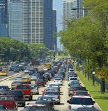 Downtown street on a hot day. Busy street in downtown chicago on a very hot day Royalty Free Stock Photo