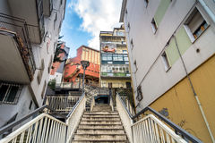 Downtown street view in Potenza, Italy. POTENZA, ITALY - MARCH 13, 2015: day view of downtown street with stairs in Potenza, Italy. Potenza is the highest royalty free stock image