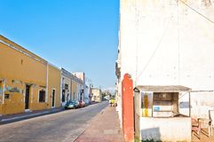 Downtown street view in Valladolid, Mexico Stock Photo