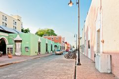 Downtown street view in Valladolid, Mexico Royalty Free Stock Photo