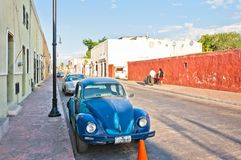 Downtown street view in Valladolid, Mexico Royalty Free Stock Image