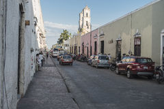 Downtown street view in Valladolid, Mexico Stock Image