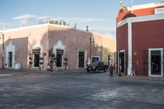 Downtown street view in Valladolid, Mexico Stock Photography