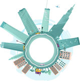 Downtown and suburbs. Vector background illustration fish-eye view, empty space in the center for your text Stock Images