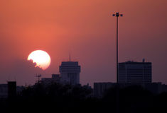 Downtown sunset. A sunset in Wichita, Kansas but could also represent most downtown city areas stock photo