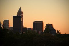 Downtown at sunset. Skyscarpers bathed in the light of sunset in Northeastern Ohio Royalty Free Stock Image