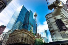 Downtown Sydney CBD buildings. High rise buildings glisten in under a blue sky in downtown Sydney Australia Royalty Free Stock Photo