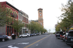 Downtown Tacoma Main Street. Dowtown Tacoma Main Street with City Hall tower and clock Royalty Free Stock Photography