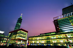 Downtown Taipei at sunset & night Stock Image