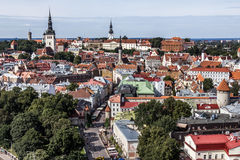 Downtown of Tallinn City. View over the Old Town of Tallinn, capital of Estonia Royalty Free Stock Photography