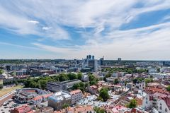 Downtown Tallinn seen from air. The business center and the old town of Tallinn, Estonia, seen from the air on a summer day Stock Photography