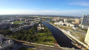 Downtown Tampa Florida aerial 4k video stock footage