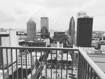 Downtown Tampa Florida. June 11, 2017 Downtown Tampa, Florida looking of the balcony stock image