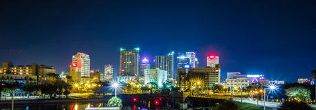Downtown tampa florida skyline at night stock photography