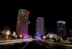Downtown tampa florida skyline at night Stock Images