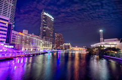 Downtown tampa florida skyline at night royalty free stock photography