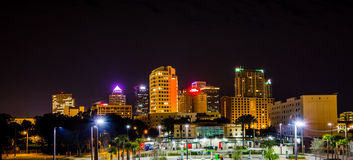 Downtown tampa florida skyline at night Royalty Free Stock Photo