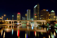 Downtown Tampa At Night. Downtown Tampa with golden illumination Stock Images