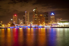 Downtown Tampa at Night. A wide angle, long exposure shot of Downtown Tampa, Florida looking across the water at night Royalty Free Stock Photography