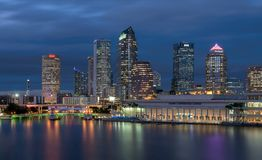 Tampa skyline at night royalty free stock image
