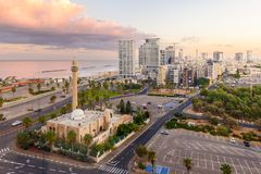 Downtown Tel Aviv in Israel at dawn royalty free stock photos