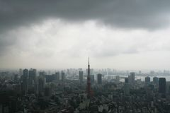 Downtown Tokyo skyline before a storm stock photos