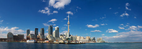 Downtown Toronto. CN tower in downtown Toronto view from lake ontario stock images