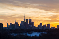 Downtown Toronto with colorful Sunset Stock Photos