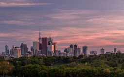 Downtown Toronto and a Colorful Sunset Royalty Free Stock Photography