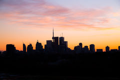 Downtown Toronto at Dusk with a pink sky Royalty Free Stock Photography