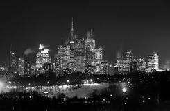 Downtown Toronto at Night in the Winter in black and white Royalty Free Stock Image