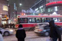 Downtown Toronto during a snowfall Stock Image