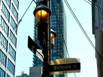 Downtown Toronto street detail with street sign stock photography