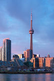 Downtown Toronto at Sunset. From lake ontario stock photos