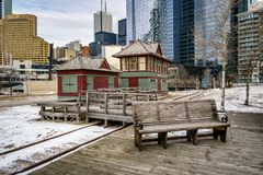 Downtown Toronto from the Train Museum. The Toronto Railway Museum is dedicated to preserving the physical legacy, history and experience of rail transportation Royalty Free Stock Photos