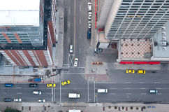 Downtown traffic. Aerial view of traffic at downtown intersection Stock Images