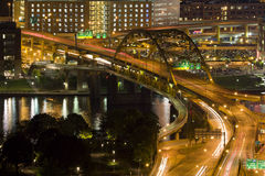 Downtown Traffic at Night. Vehicle Traffic on a bridge in downtown Pittsburgh, PA Royalty Free Stock Photography