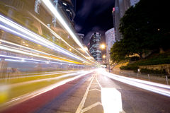 Downtown Traffic at Night. The downtown night traffic in commercial area, Hong Kong Royalty Free Stock Photo