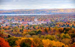 Downtown Traverse City Michigan. Over looking downtown Traverse City the Autumn season a flood of colors as far as the eye can see Royalty Free Stock Photos