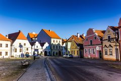 Downtown in Trebon, Czech Republic. Downtown in Trebon, South Bohemian region. Czech Republic Stock Images