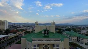 Downtown Ulan-Ude flight drone shot aerial view Russia, Buryatia. The center of the capital of Buryatia, Ulan-Ude flight drone video from a bird Russia flight stock video footage
