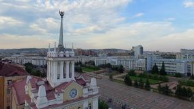 Downtown Ulan-Ude flight drone shot aerial view Russia, Buryatia. The center of the capital of Buryatia, Ulan-Ude flight drone video from a bird Russia flight stock video